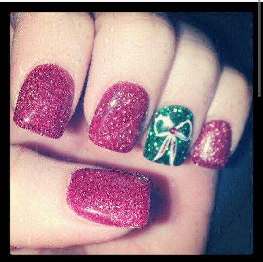 Christmas red & green glitter.
