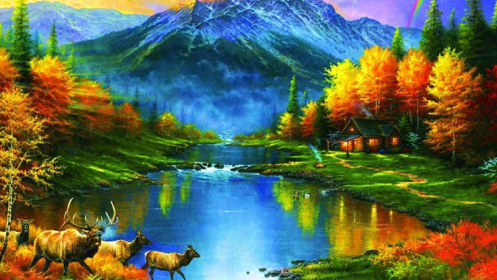 Beautiful Fall river in Autumn Desktop wallpaper fall