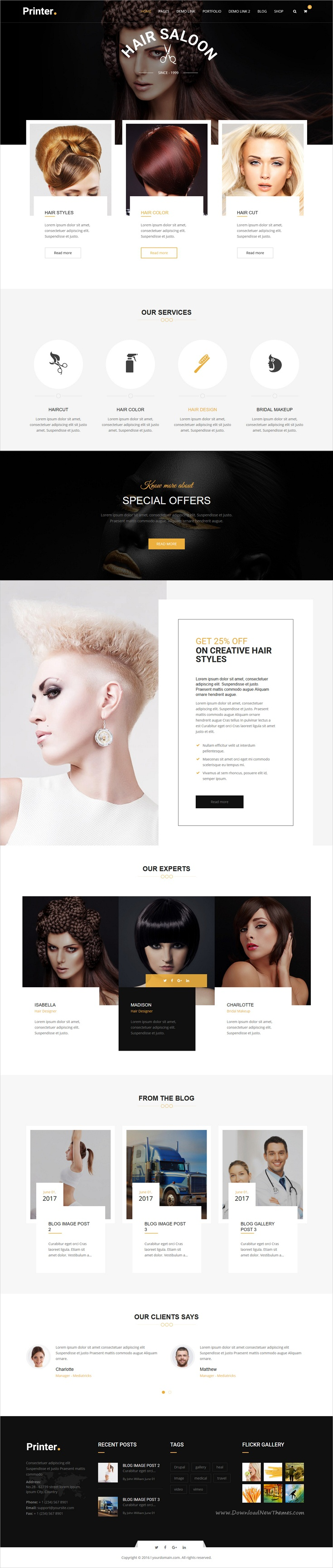 Printer is clean and modern design multipurpose responsive #Drupal theme for #salon #beautician stunning website with 50+ niche homepage layouts download now..