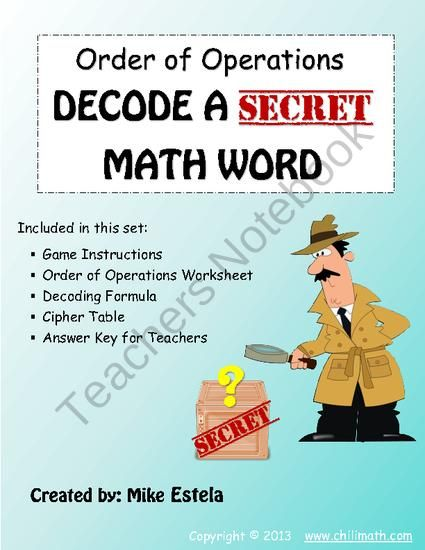 Order Of Operations Decode A Secret Math Word 2 From