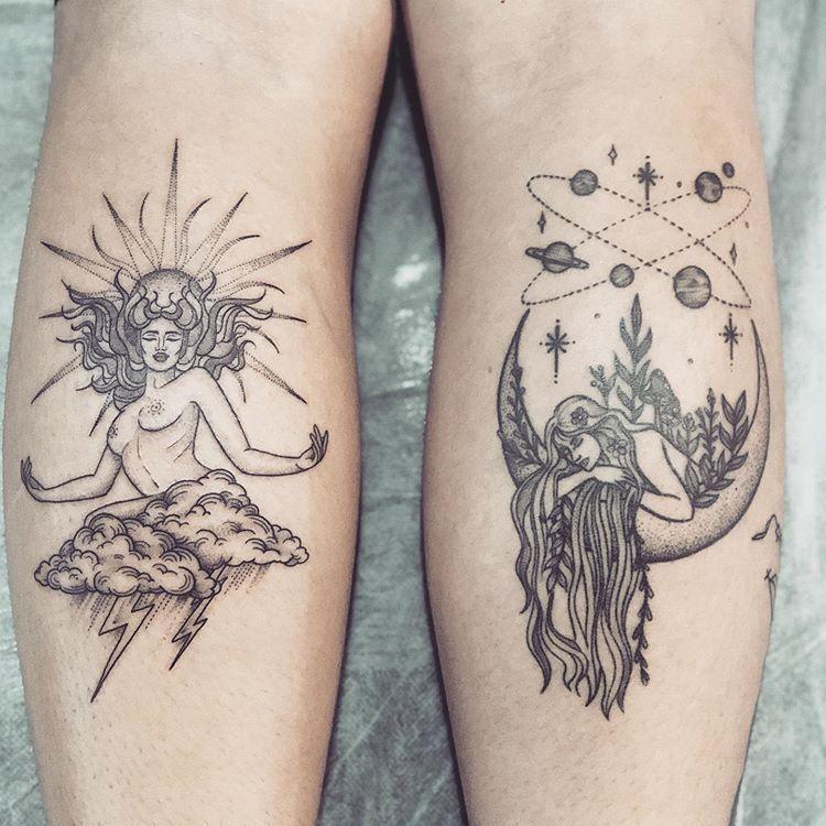 Sun & moon tattoo #tattoodrawings