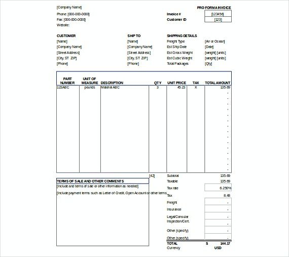 Proforma Invoice Templates Xls Format  Downloadable Invoice