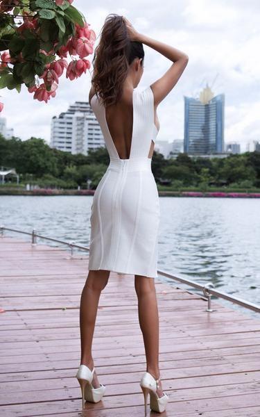 641d082010 Nova All White Criss Cross Bandage Bodycon Dress