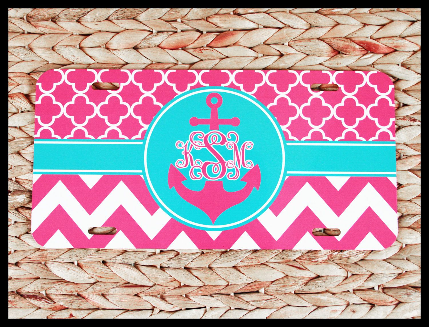 Monogram initials with anchor pink license plate car tag