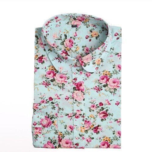 Star & Floral Print Long Sleeve Cotton Shirt Women