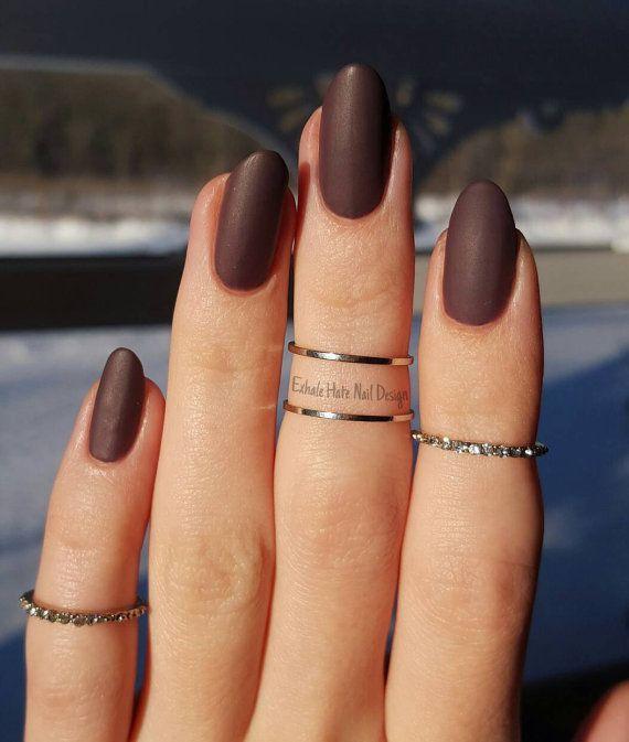 Mauve Dusty Purple Matte/Glossy Fake Press On Nails - Stiletto, Oval ...