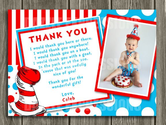 Printable Dr Seuss Inspired Photo You Card Cat In The Hat - Children's birthday thank you notes
