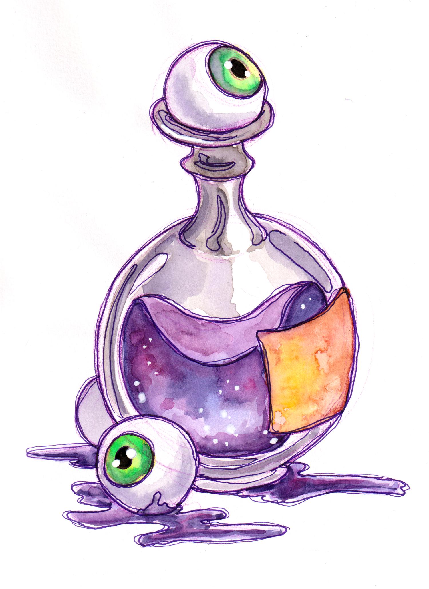 Potion Bottle Print Mcbelbs Indie Drawings Bottle Drawing Line Art Drawings