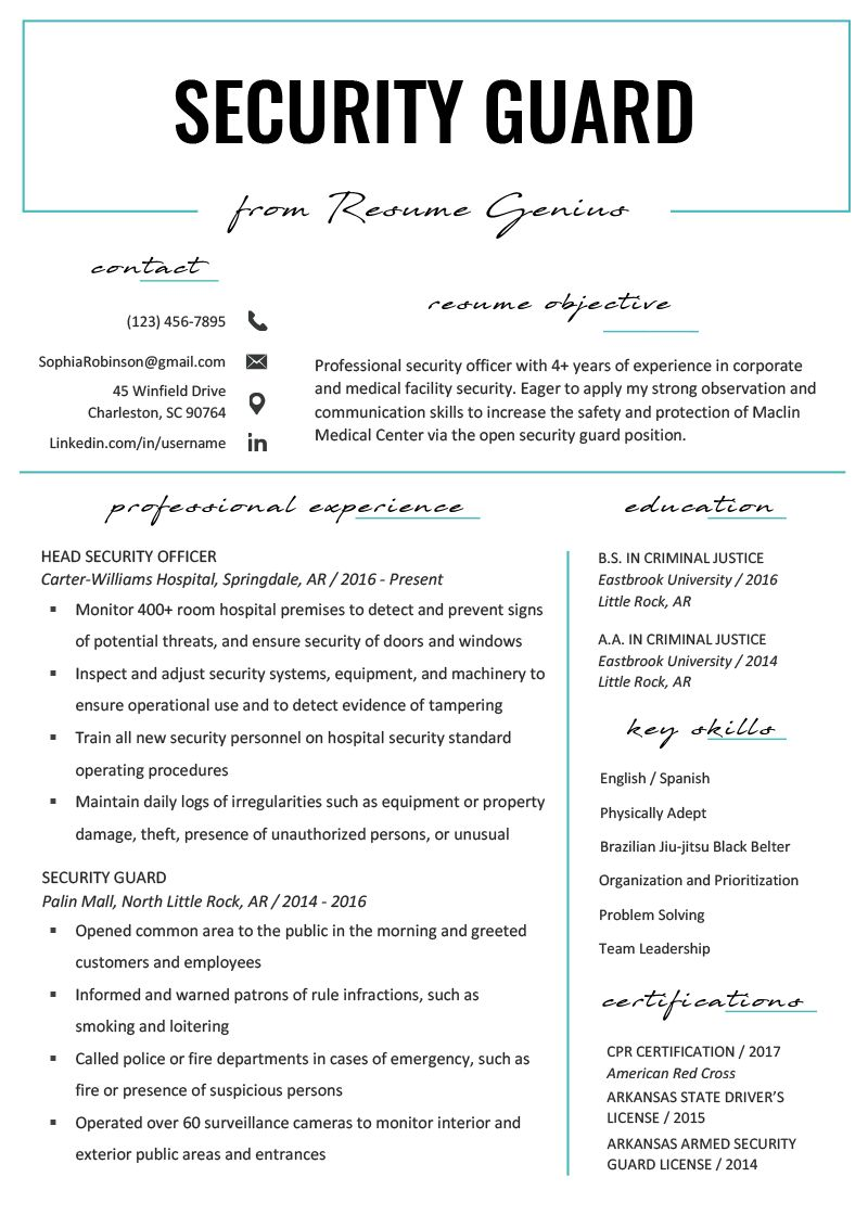 Security Guard Resume Sample & Writing Tips Resume