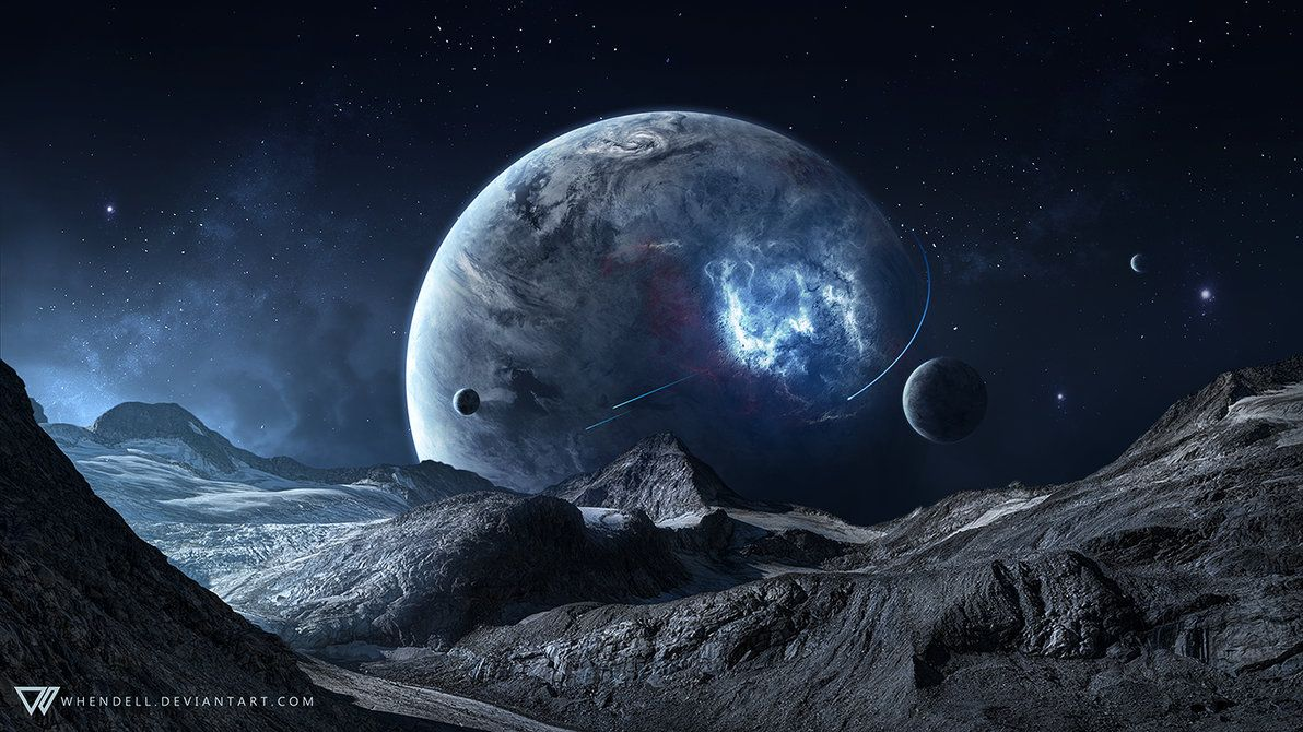 Blue Space Space Art Planets Wallpaper Blue Space