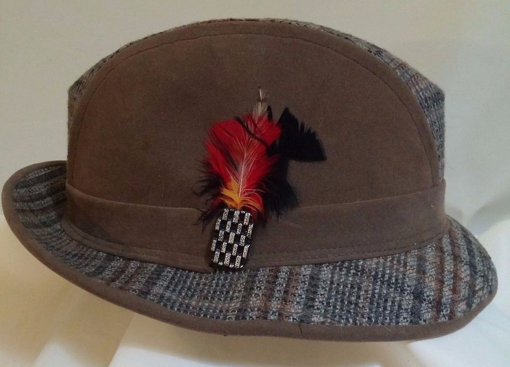 "Two tone Bours-Cellini TRILBY Hat Brown Suede wool Plaid XL 23 3/8"" 1 3/4 Brim #BourseCellini #Trilby"