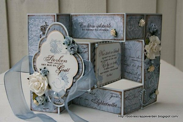 Tri fold shutter card and matching box blue scheme