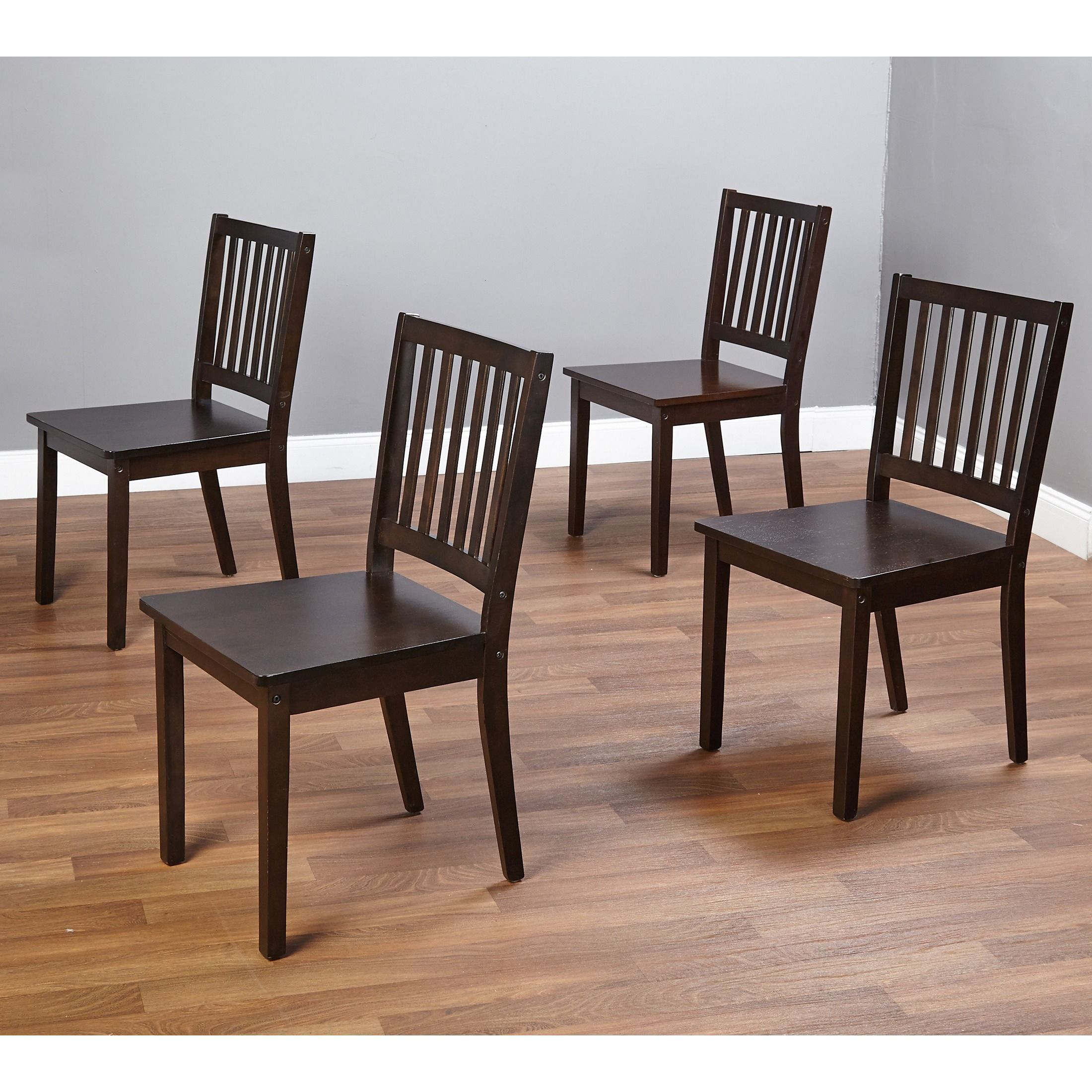 Simple Living Slat Espresso Rubberwood Dining Chairs Set of 4 by