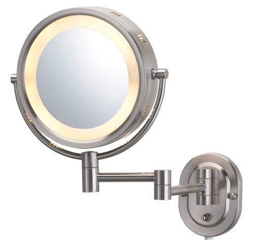 Jerdon Hl65n 8inch Lighted Wall Mount Makeup Mirror With
