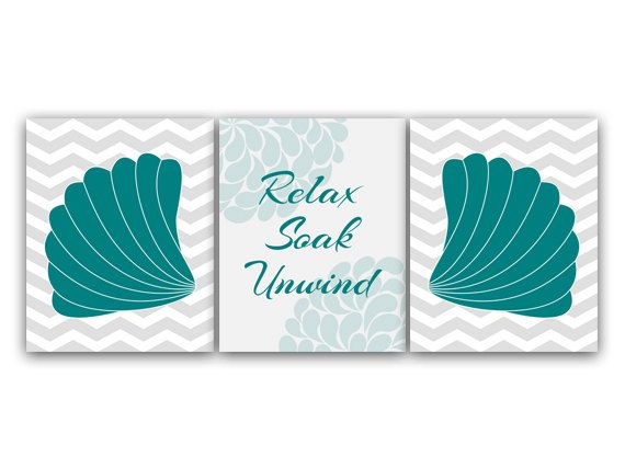 Bathroom Wall Art Relax Soak Unwind Aqua & Gray by WallArtBoutique ...