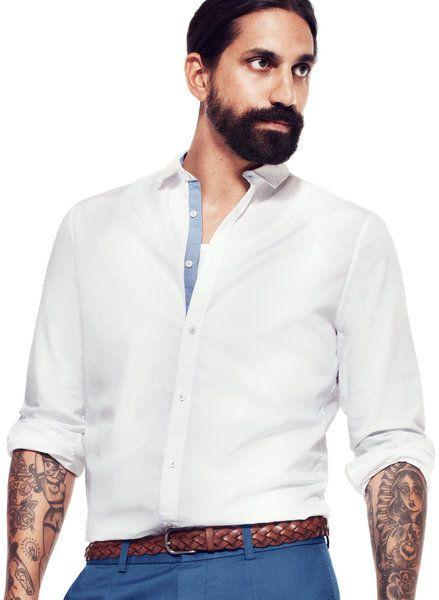 694d4fe8 H Shirt in White for Men (blue) - Lyst | White shirts | Men's spring ...