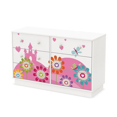 South Shore Furniture 8050009K Joy 6-Drawer Double Dresser with Fairyland Decal Set