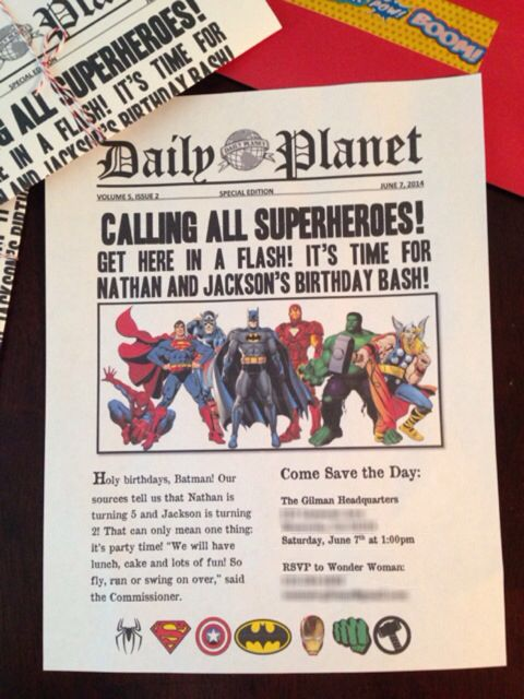 Superhero Birthday Party Invitations I Made Using Word Downloaded Free Newspaper Fonts And Found The Images On Google After Folding Them Tied Each