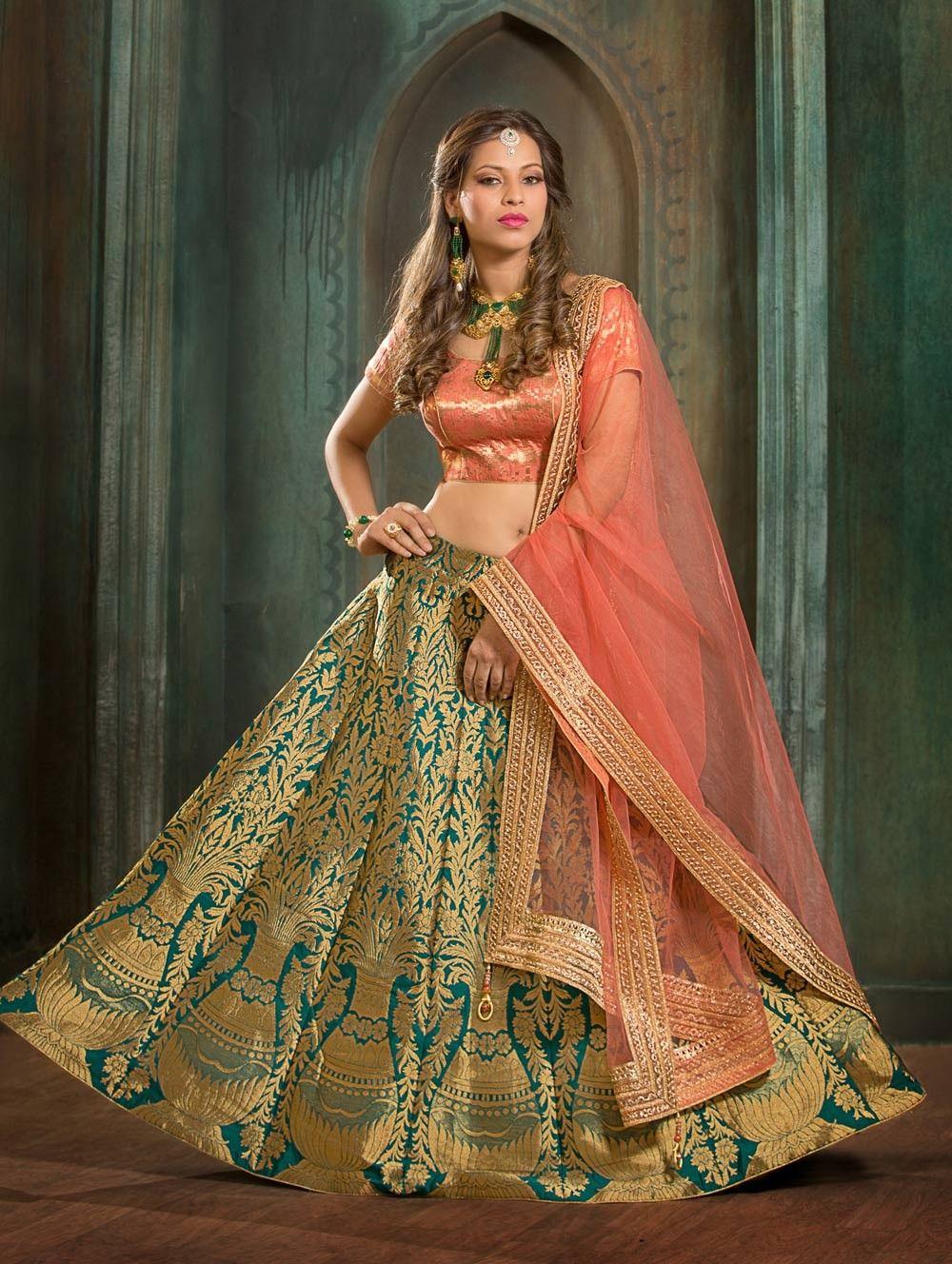 96521b6f5e Green Pakistani Nikah wear pure silk lehenga choli with dupatta G17062