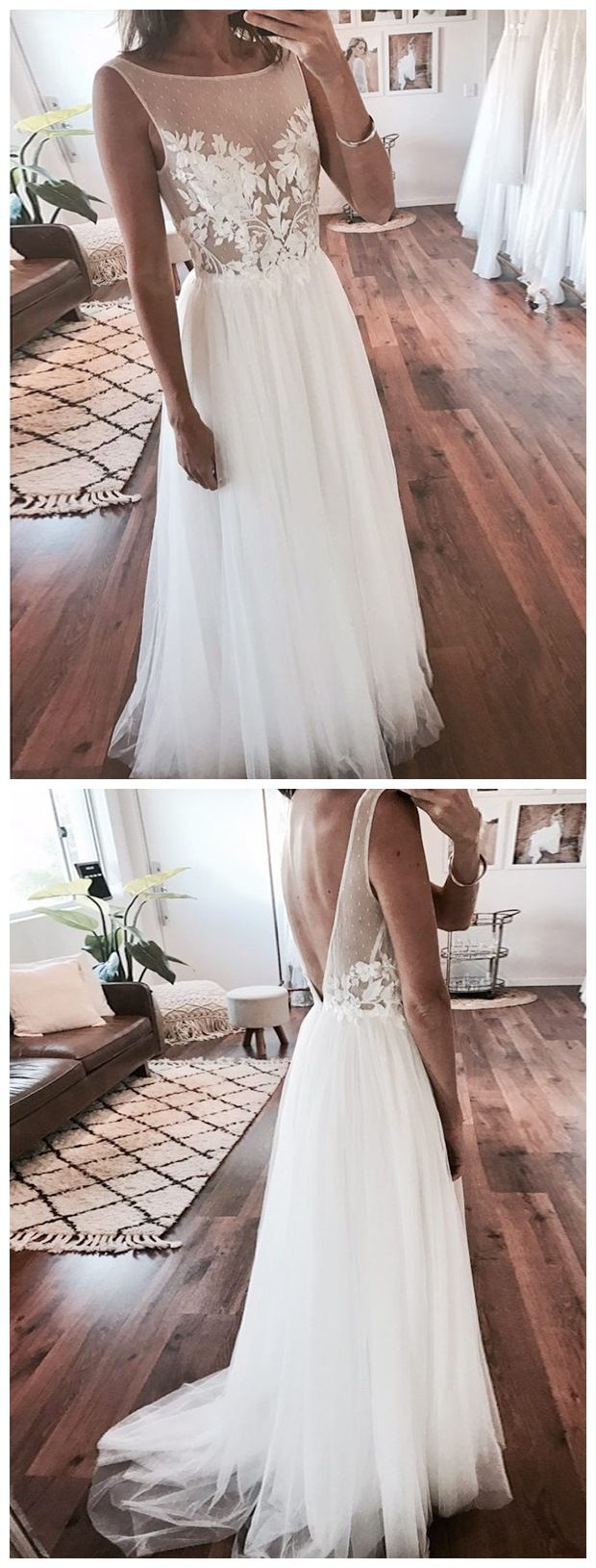 Cheap rustic wedding dresses  Cheap Ivory Tulle Beach Wedding Dresses Lace Applique See Through