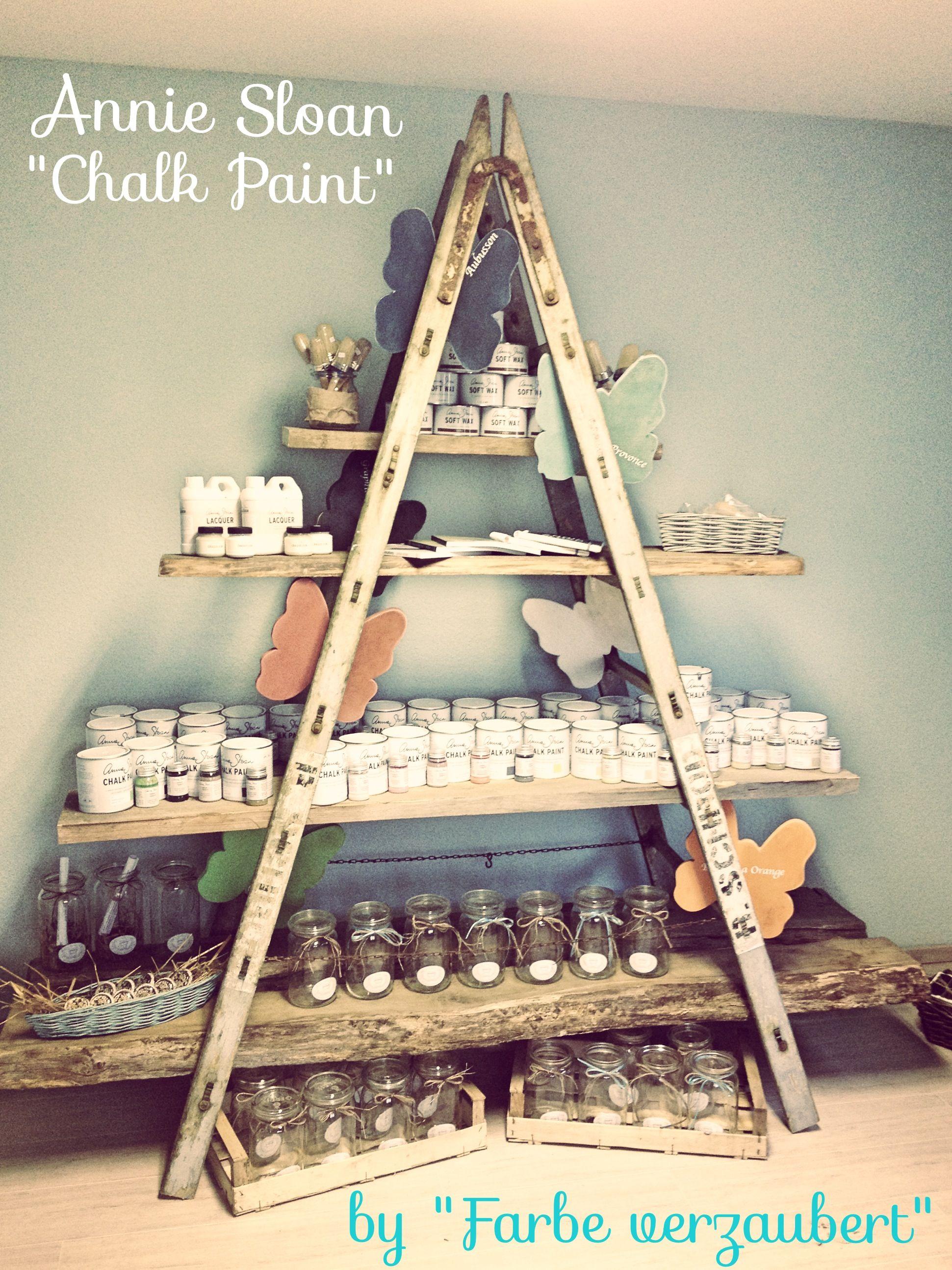 shop displays wooden a frame ladder boards as shelves
