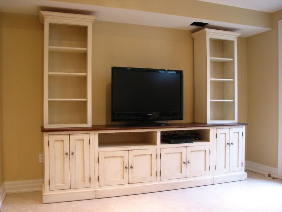 tv center / wood tv wall unit / hand painted media center