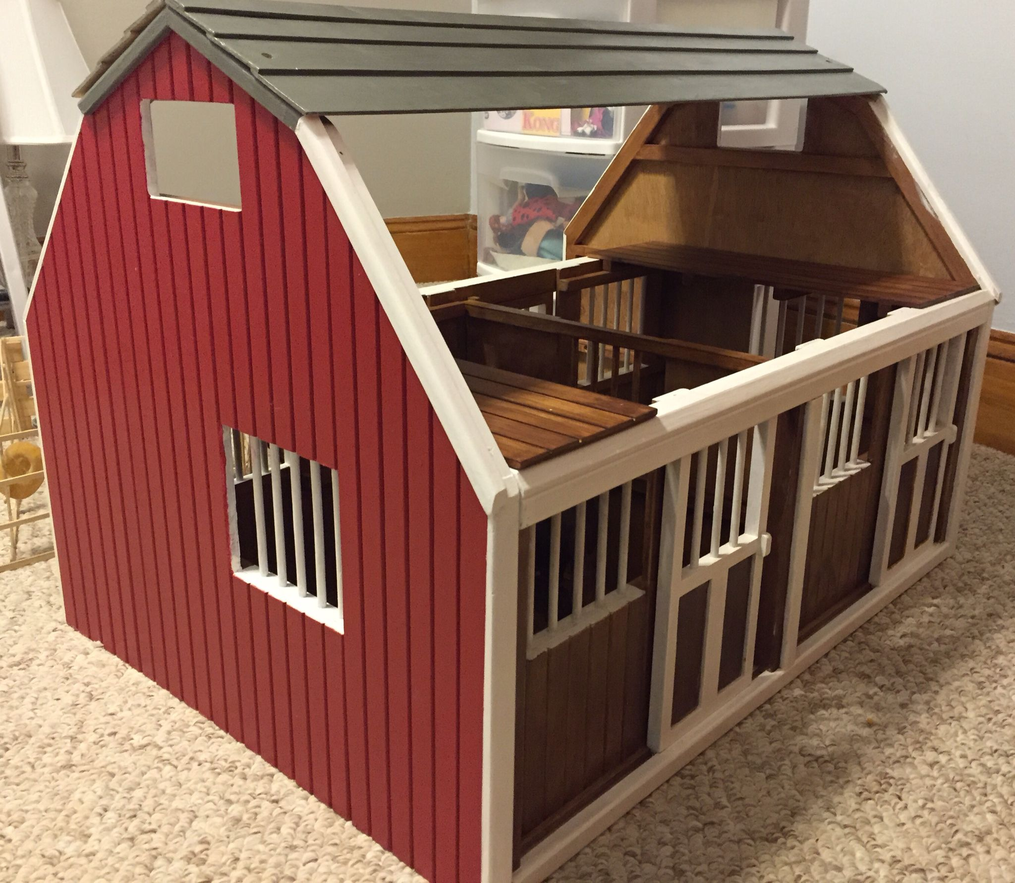 Breyer Horse Barn Painted By Me For Her Collection The Raw Wood Was All Stained And Boring Anyway Breyer Diy Toybarn B Toy Barn Wooden Toy Barn Kids Barn