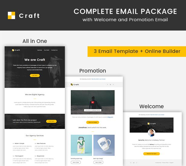 Craft  Complete Email Package  Responsive Templates  Builder