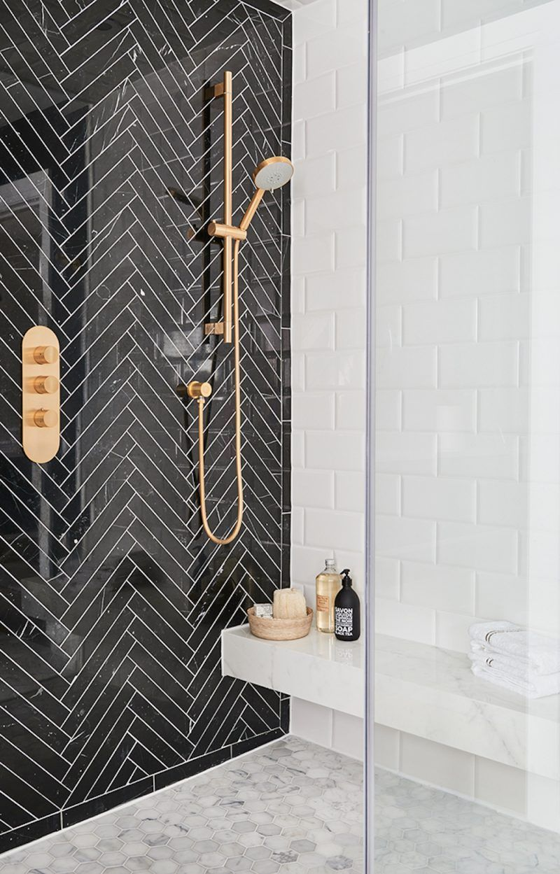 Black Herringbone Tile Feature Wall In Shower Patterned Bathroom Tiles Bathroom Interior Bathroom Tile Designs