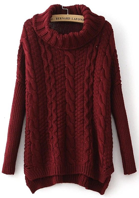 6300429546 Sweater Love! Gorgeous Color! Cozy Thick Cable Knit Wine Red Plain Irregular  Pullover Sweater