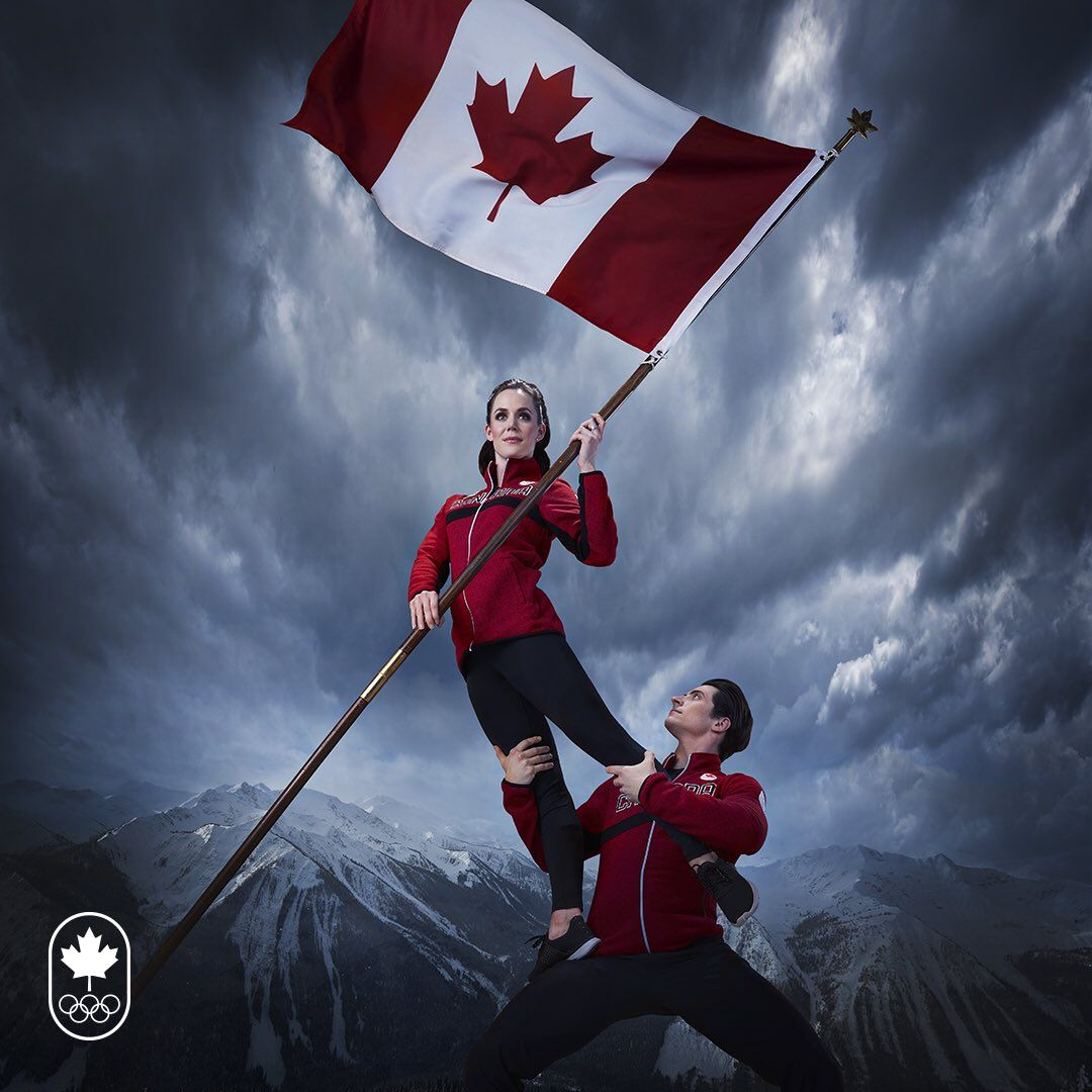 Canada S Olympic Flag Bearer Photos Are Very Dramatic Team Canada Virtue And Moir Tessa Virtue Scott Moir