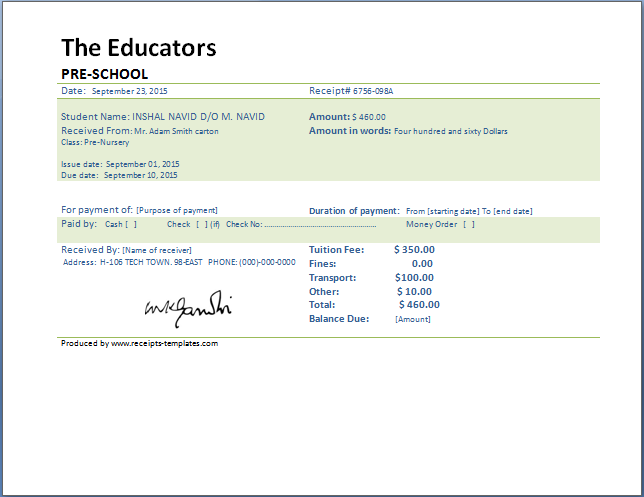 School Fee Payment Receipt Template  Free Download Receipt Format In Excel
