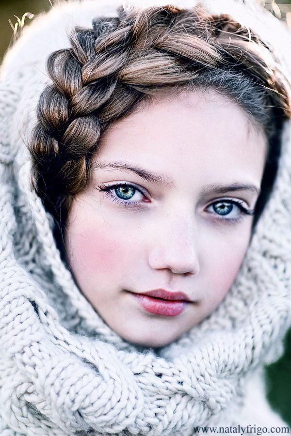 Irish Girl With Brown Hair And Beautiful Blue Eyes Green