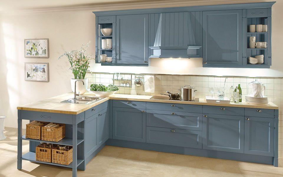Einbauküche Landhausstil in Blau - Küche&Co   Haus ...