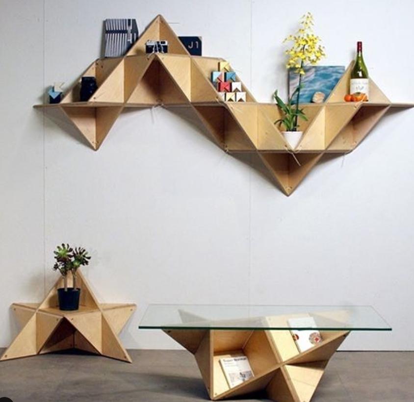 Assemblement Du Salon Geometric Furniture Geometric Shelves Geometric Decor