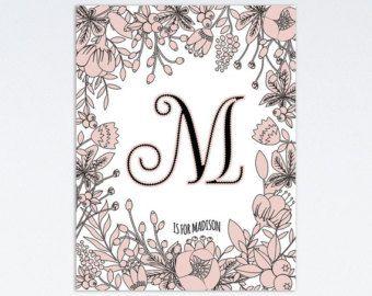 Letra del monograma M Custom monograma estampado Floral