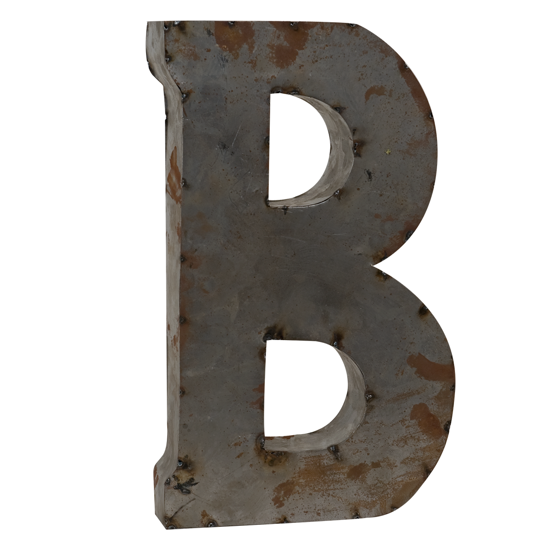 Tin Alphabet Letters Reclaimed Tin Letter B  Rust And Metals