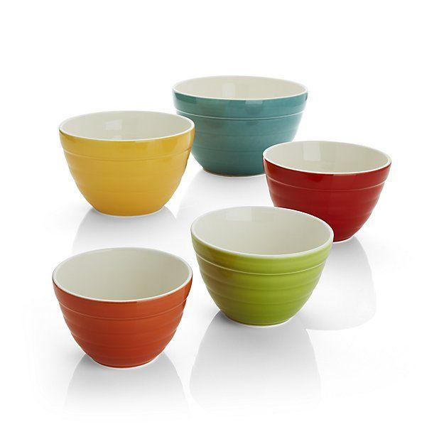 Aqua Baker Nesting Bowls Set Of Five Crate And Barrel Bowl Mixing Bowls Plastic Crates