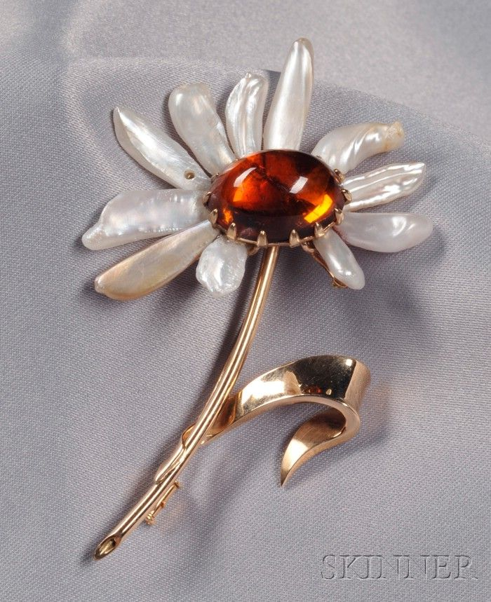 18kt Gold, Freshwater Pearl, and Amber Daisy Brooch, France
