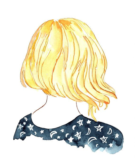 Blue Starry Night Sky Blonde Hair Short Watercolor Art Print 8x10
