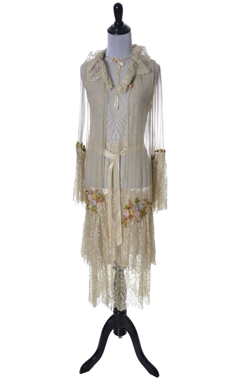 e80102c33c2 Very Rare Vera West 1920 s lace silk and chiffon peignoir nightgown robe  teddy - from Universal Studio Costume Designer who did the gowns for Bride  of ...