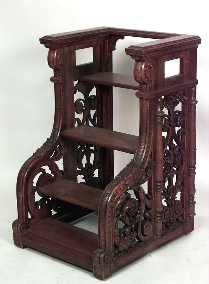 Set Of French Victorian Style Walnut Library Steps With 4 Pierced Scroll Carved Sides Molded Railing 1st 1 20th Cent