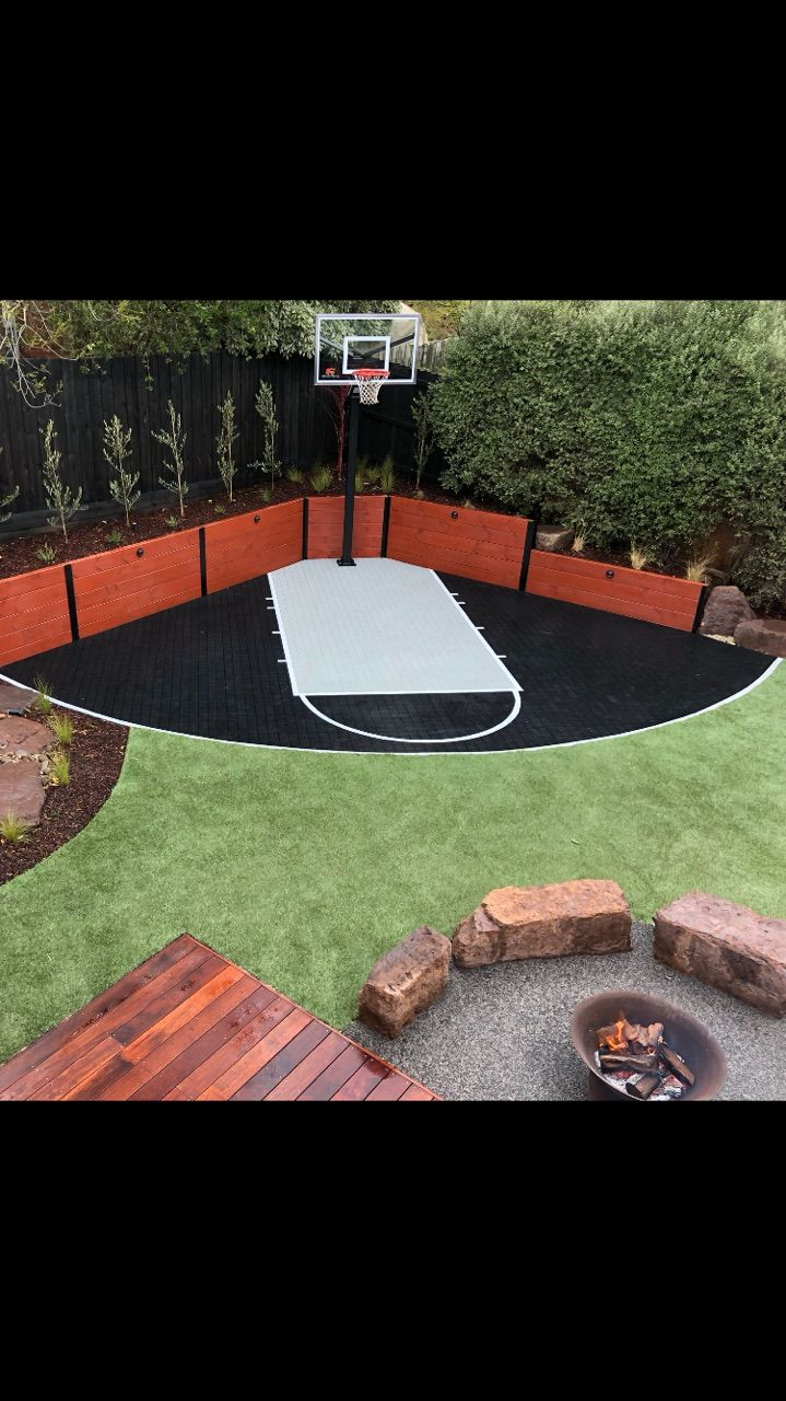 Backyard basketball court Australia. Completed with SWISH