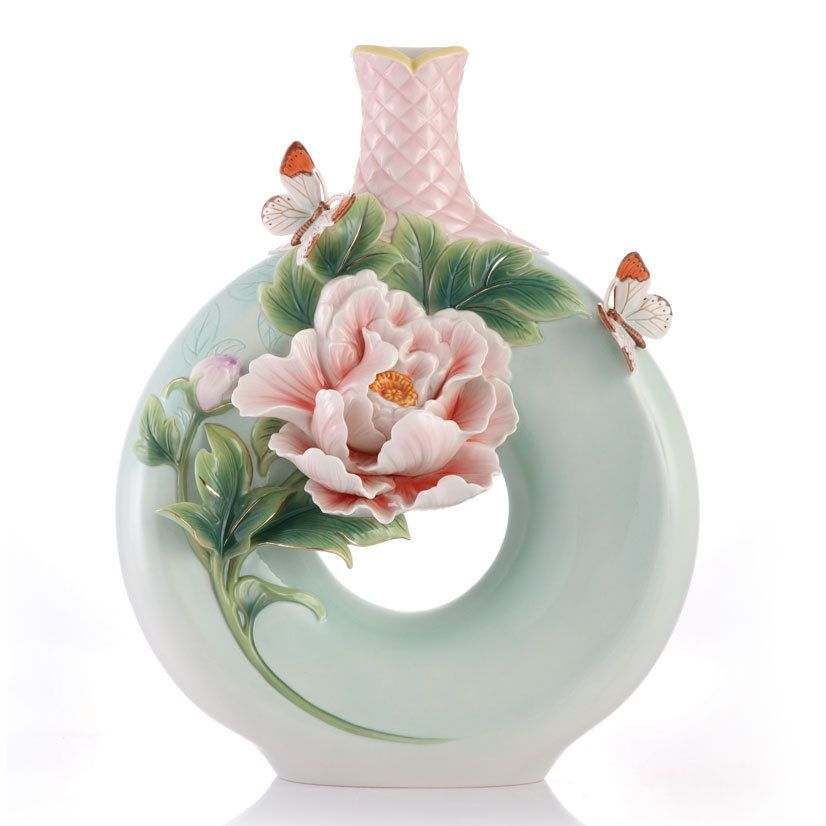 Latest Interiors Porcelain Skin: FZ03418 Franz Porcelain New Intro Peony Butterfly Design
