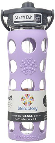 Lifefactory 16Ounce BPAFree Glass Water Bottle with Straw Cap  Silicone Sleeve Lilac *** You can find out more details at the link of the image.Note:It is affiliate link to Amazon.