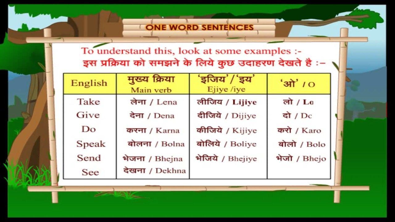 One Word Sentences Learn Hindi Through English For Kids Spoken Hin One Word Sentence Word Sentences Learn Hindi [ 720 x 1280 Pixel ]