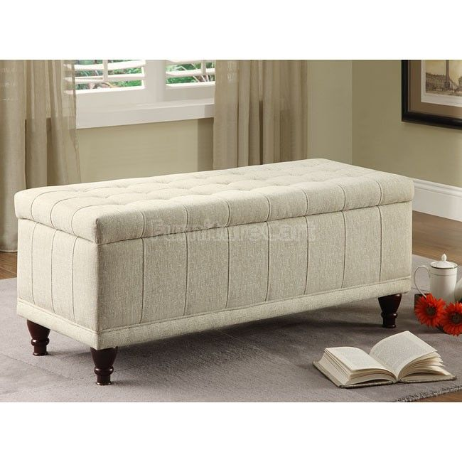 Superior Afton Lift Top Cream Fabric Storage Bench