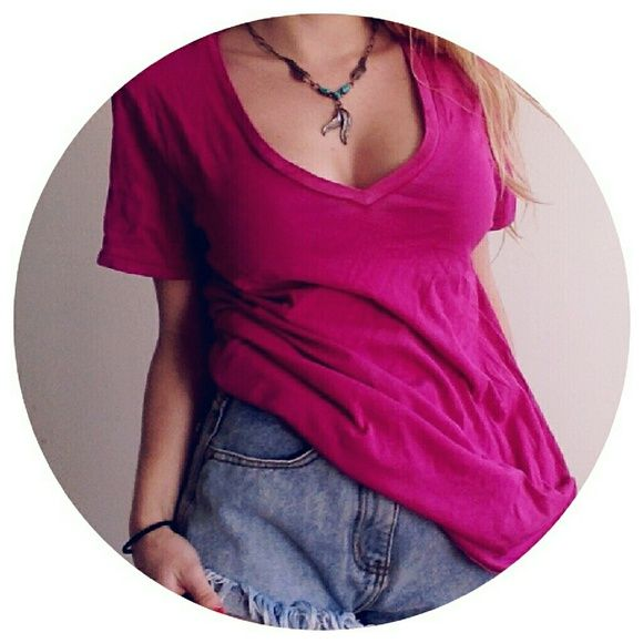 American Eagle Outfitters Favorite T NWT Brand new with tags. Vintage feel fabric with slight color distressing throughout. Hot pink. Urban Outfitters Tops Tees - Short Sleeve
