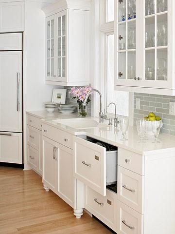 White shaker cabinets subway tile and glass cabinet kitchen design also