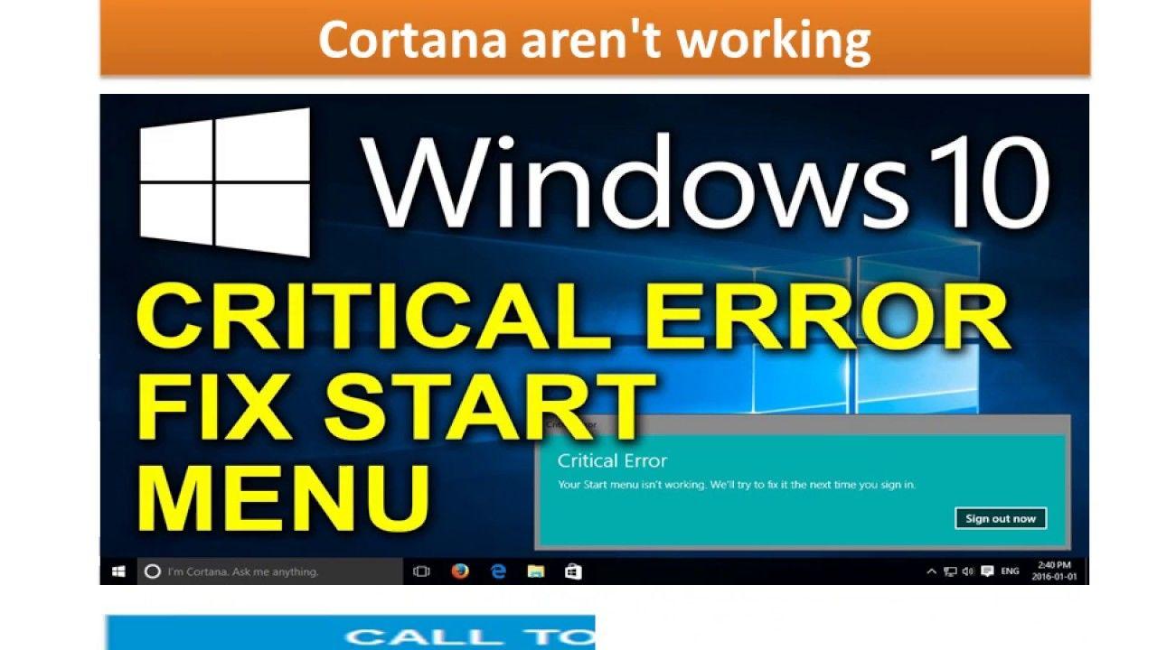 solve critical error start menu and cortana